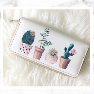 Watercolor Cactus Zip Clutch / Wallet 🌵